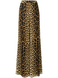 Moschino Flared Leopard Print Trousers Neutrals