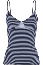 Olympia Activewear Marlo Striped Stretch Jersey Tank Navy
