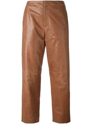Drome Straight Leg Cropped Trousers Nude And Neutrals