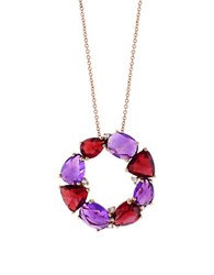 Effy Final Call Diamond Amethyst Garnet And 14K Rose Gold Pendant Necklace