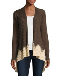 Neiman Marcus Dip Dyed Open Front Cardigan Brown