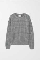 Madeleine Thompson Boreas Waffle Knit Wool And Cashmere Blend Sweater Gray