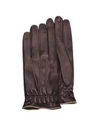Forzieri Men's Brown Cashmere Lined Calf Leather Gloves