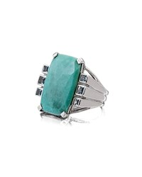 Stephen Dweck Faceted Turquoise And Blue Topaz Cushion Ring