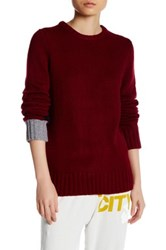 Free City Cable Knit Crew Neck Sweater Red