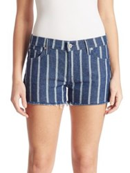 7 For All Mankind Striped Cut Off Denim Shorts Seaside Stripe