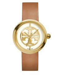 Tory Burch Reva Logo Dial Leather Strap Watch Brown