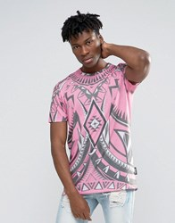 Jaded London Longline T Shirt With All Over Kaleidascope Print Pink