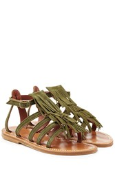 K. Jacques K.Jacques Suede Sandals With Fringe Green
