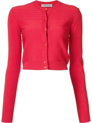 Carolina Herrera Cropped Cardigan Red