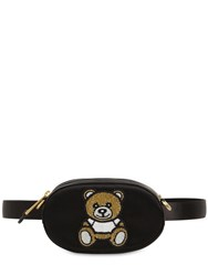 Moschino Embellished Silk Satin Belt Bag Black