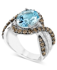 Le Vian 14K White Gold Ring Aquamarine 3 3 4 Ct. T.W. And White And Chocolate Diamond 1 8 Ct. T.W. Ring Blue