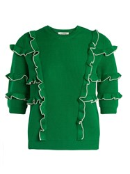 Valentino Ruffle Trimmed Ribbed Knit Cotton Sweater Green White