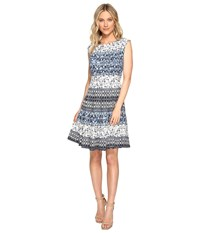 Christin Michaels Adriane Printed Fit And Flare Dress Ivory Navy Women's Dress White
