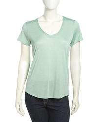 Vince Short Sleeve Sheer Jersey Tee Mint Chip