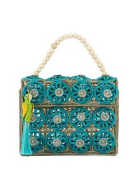 Mercedes Salazar Threaded Straw Top Handle Bag Blue