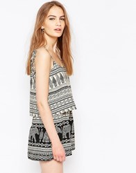 Daisy Street Playsuit In Elephant Print With Tie Detail Black