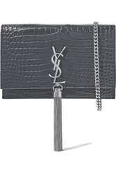 Saint Laurent Kate Croc Effect Leather Shoulder Bag Gray