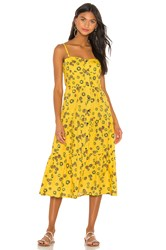 Solid And Striped Button Up Tiered Dress Yellow