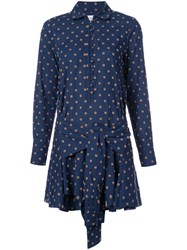 Derek Lam 10 Crosby Printed Mini Shirt Dress Women Cotton 10 Blue