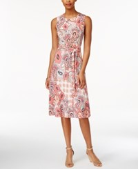 Charter Club Petite Paisley Print Fit And Flare Belted Dress Only At Macy's Summer Reef