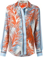Emilio Pucci Feather Print Shirt Blue