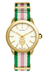 Tory Burch Women's Collins Grosgrain Strap Watch 38Mm Green Pink Peony Ivory Gold