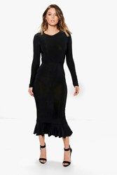 Boohoo Sue Slinky Long Sleeved Peplum Hem Midi Dress Black