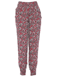 Izabel London Elasticised Paisley Trousers Cerise