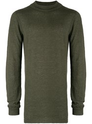 Rick Owens Mid Length Mock Neck Sweater Green