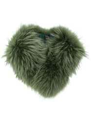 Mr And Mrs Italy Racoon Fur Scarf Green