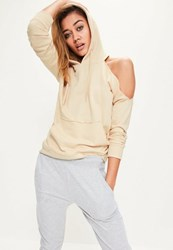 Missguided Nude Cold Shoulder Hoodie Cream