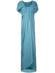 Paule Ka Long Draped Woven Dress Women Silk 44 Green