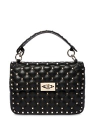 Valentino Garavani Medium Spike Leather Shoulder Bag Black