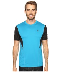Spyder Strabo Short Sleeve Shirt Electric Blue Black Men's Short Sleeve Pullover