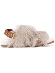 Car Shoe Fur Sandals Women Leather Sheep Skin Shearling Rubber 40 Nude Neutrals