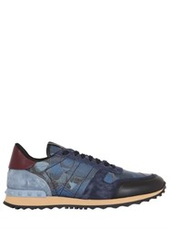 Valentino Rockrunner Butterfly And Leather Sneakers