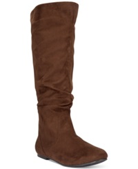 Wanted Toucan Tall Shaft Faux Fur Slouch Boots Women's Shoes Brown