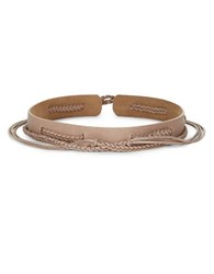 Ada Woven Braided Strap Leather Belt Taupe