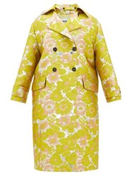 Msgm Double Breasted Floral Brocade Coat Yellow