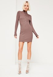 Missguided Purple Lace Up Front Mini Dress