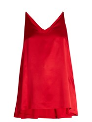Adam By Adam Lippes Step Hem Silk Satin Cami Top Red