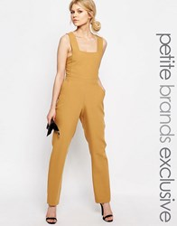 Alter Petite Pinafore Tailored Jumpsuit Mustard Yellow