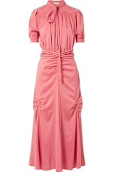 Carven Smocked Silk Blend Crepe De Chine Midi Dress Pink Gbp