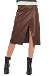 Topshop Women's Faux Leather Wrap Midi Skirt Dark Clay