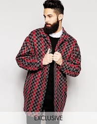Reclaimed Vintage Checked Cocoon Coat Grey