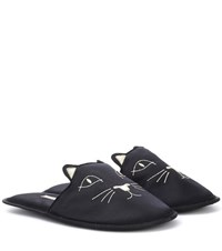 Charlotte Olympia House Cats Satin Slippers Black