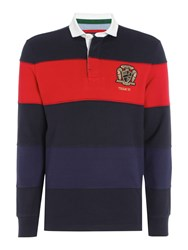 Howick Men's Belford Cut And Sew Stripe Long Sleeve Rugby Shirt Navy