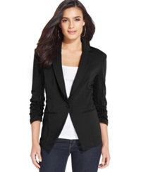 Style And Co. Solid Knit Fitted Blazer Only At Macy's Deep Black