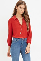 Forever 21 Tonal Chevron Blouse Red